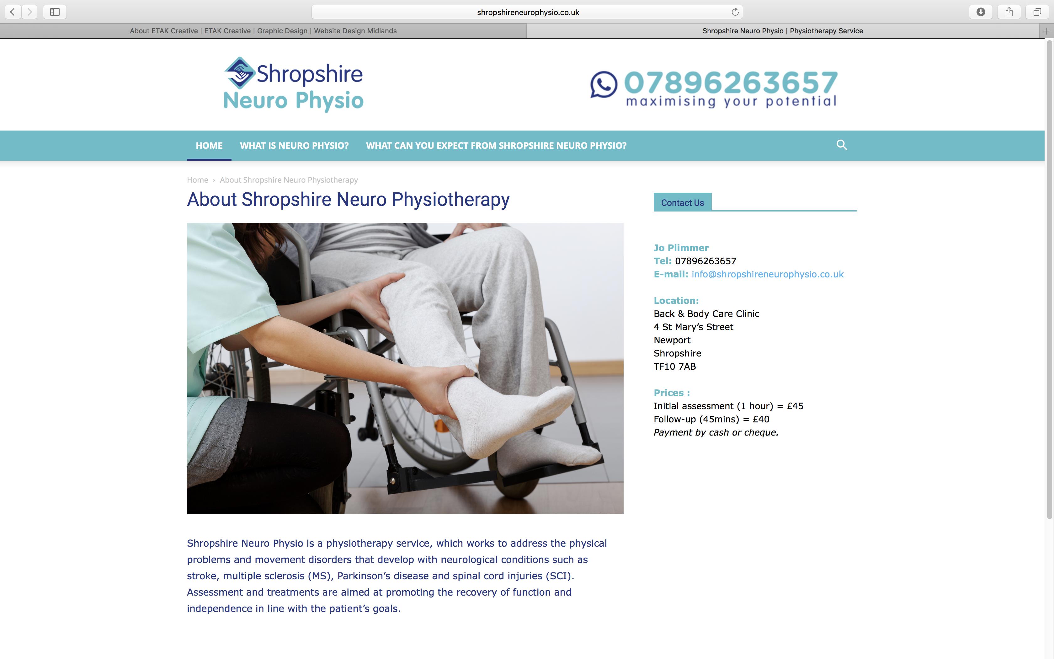 Logo and Website Design for Shropshire Neuro Physiotherapy   ETAK ...